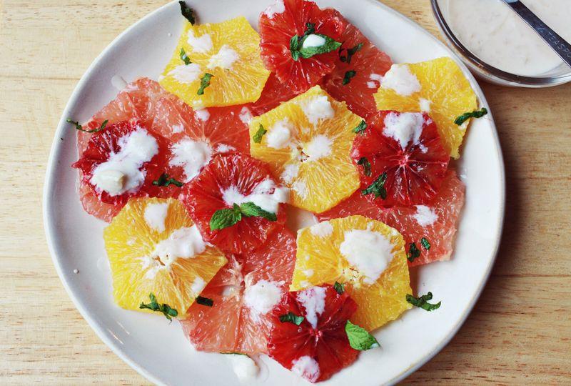 Citrus salad with yogurt dressing