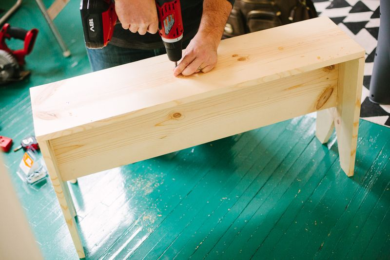 Making a wooden bench