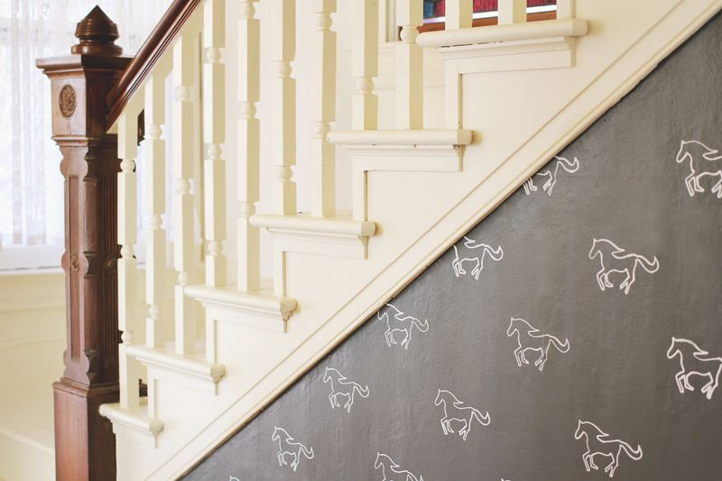 White Painted Stairs Stenciled Statement Wall