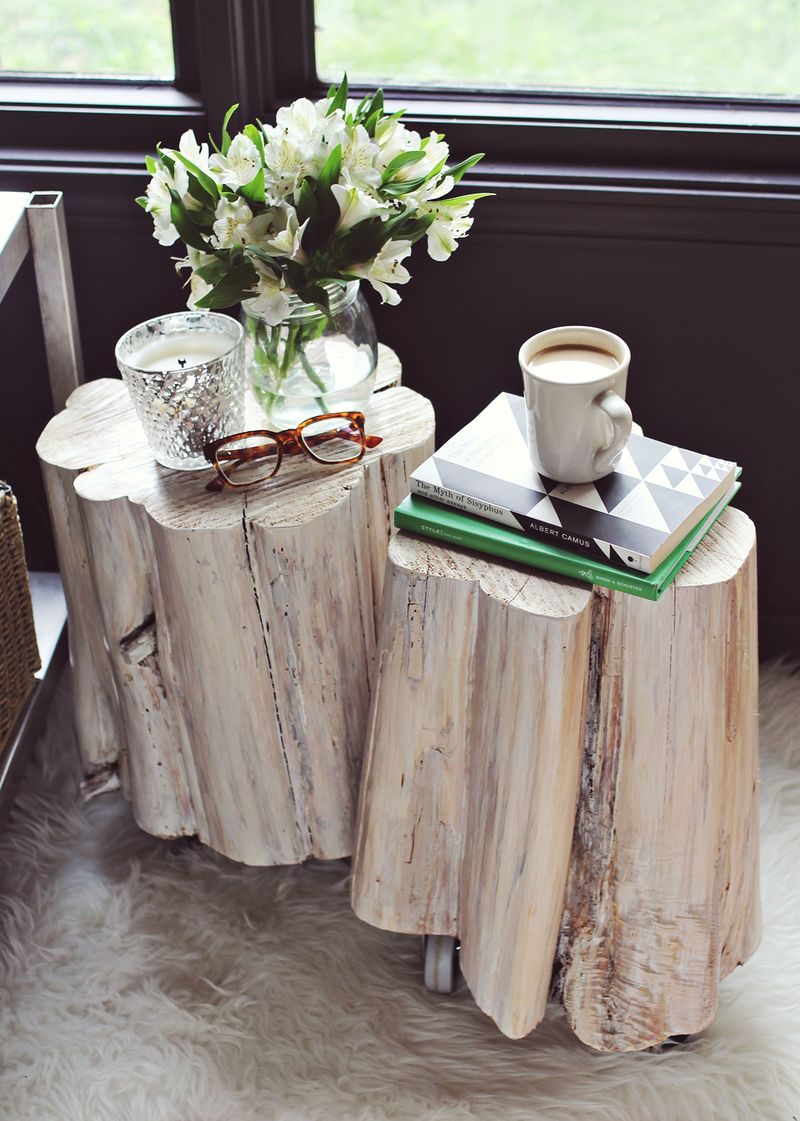 Diy Tree Stump Side Tables A Beautiful Mess