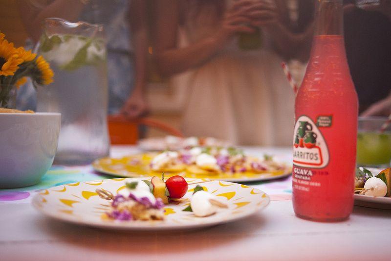 Peach Caprese Skewers with Balsamic Vinegar Reduction www.abeautifulmess.com