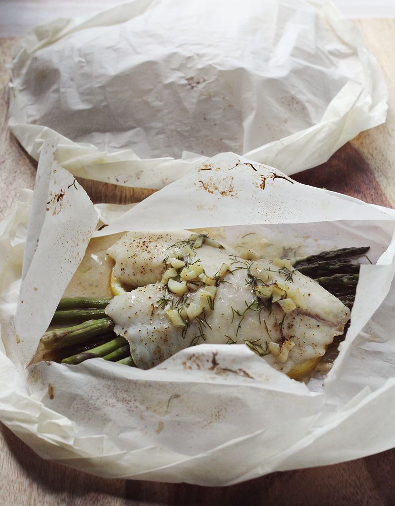 Parchment paper baked fish