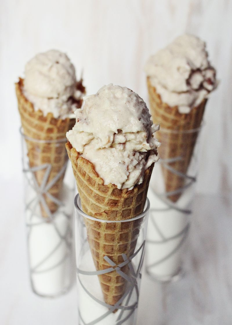 Toasted coconut and candied pecan ice cream www.abeautifulmess.com