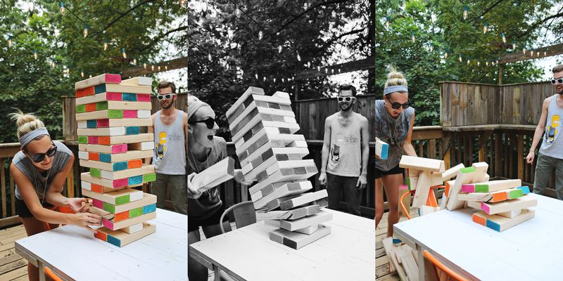 Giant Jenga…. the end! www.abeautifulmess.com
