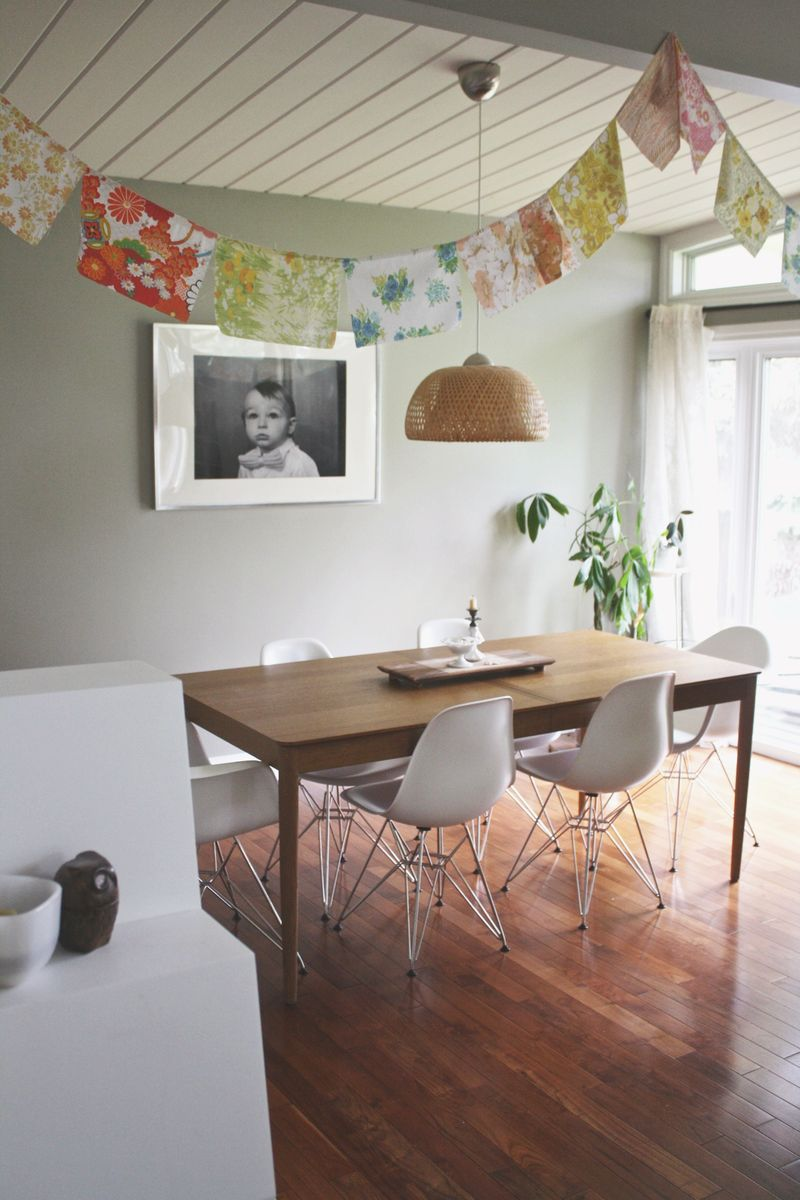 The bunting gives this room a fun touch