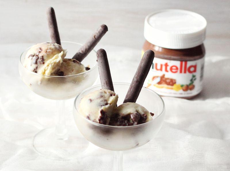 Nutella swirl ice cream www.abeautifulmess.com