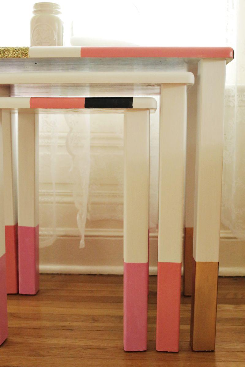 DIY Geometric Nesting Tables via abeautifulmess.com 6