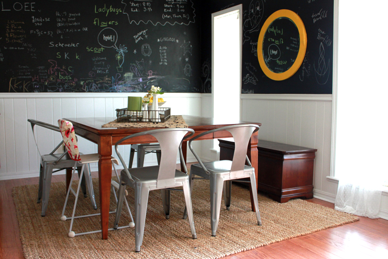 Love the chairs and chalkboard wall in this dining room!
