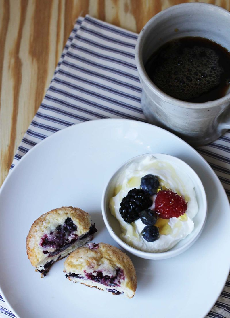 Triple berry muffins abeautiful.com
