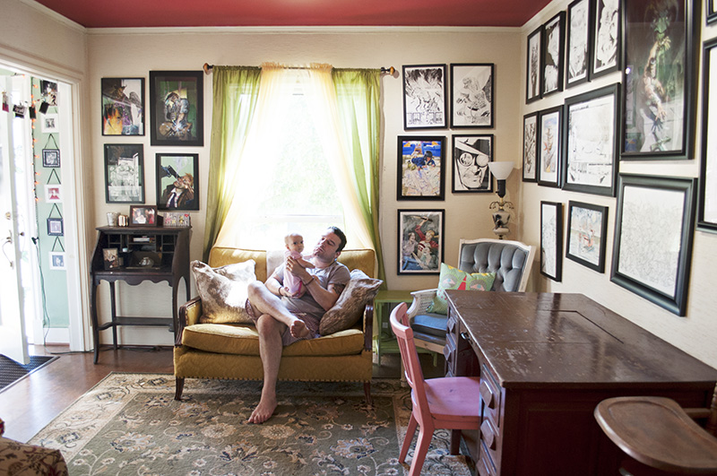 Max Bemis in his home with daughter Lucy