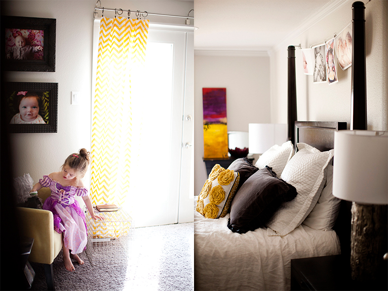 Love the pops of yellow in this room