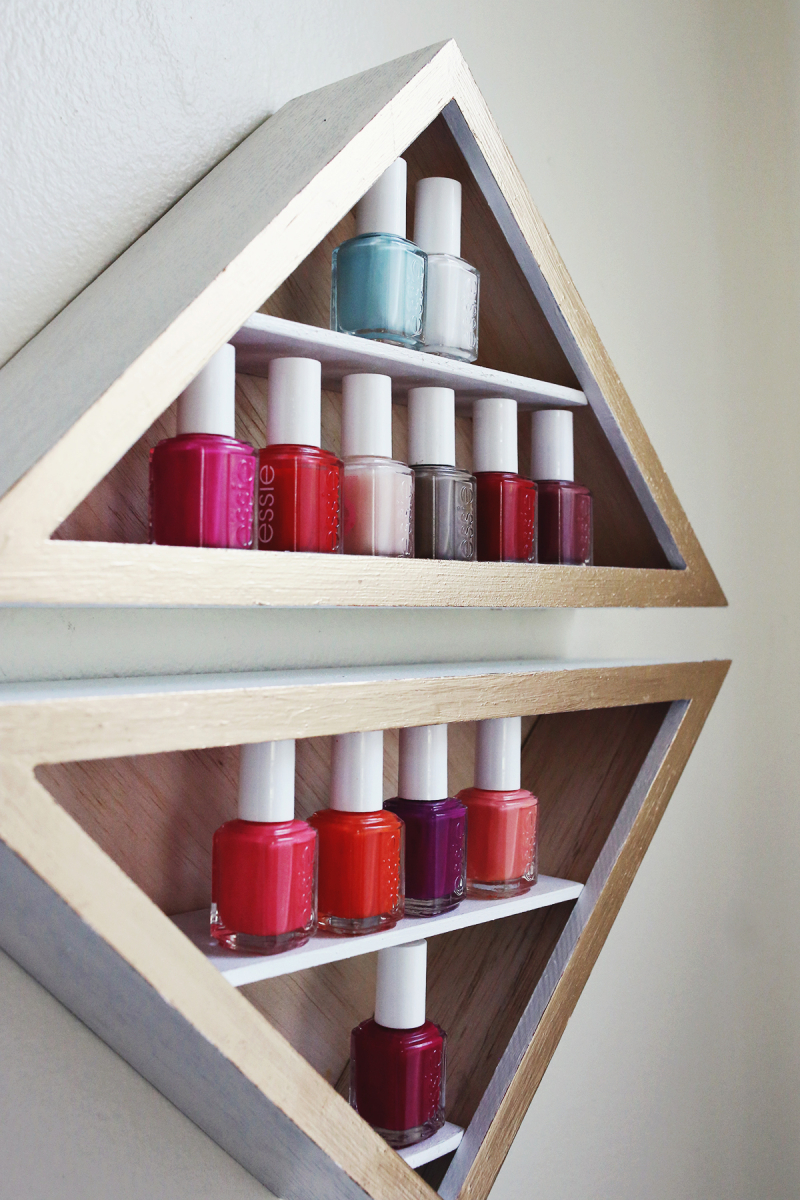 Make Your Own Nail Polish Shelves - A Beautiful Mess