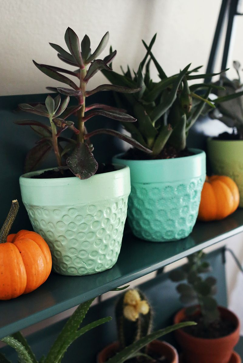 Try This- make a textured planted with a terra cotta pot and paper clay!