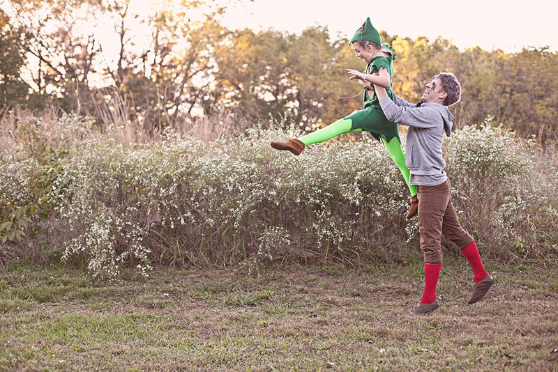 One of the Lost Boys helping Peter Pan fly-- great costume DIY!
