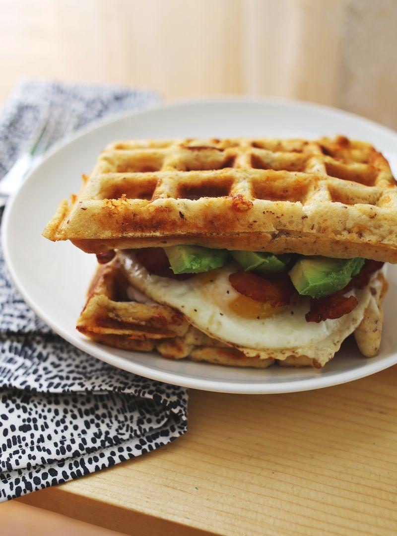 Cheddar Waffle Breakfast Sandwich (click through for the recipe!)