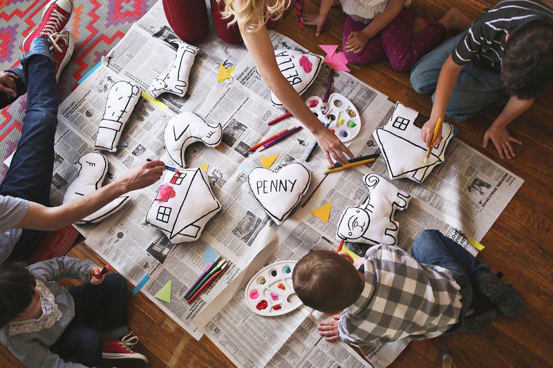 Awe- paintable plush dolls for kiddos