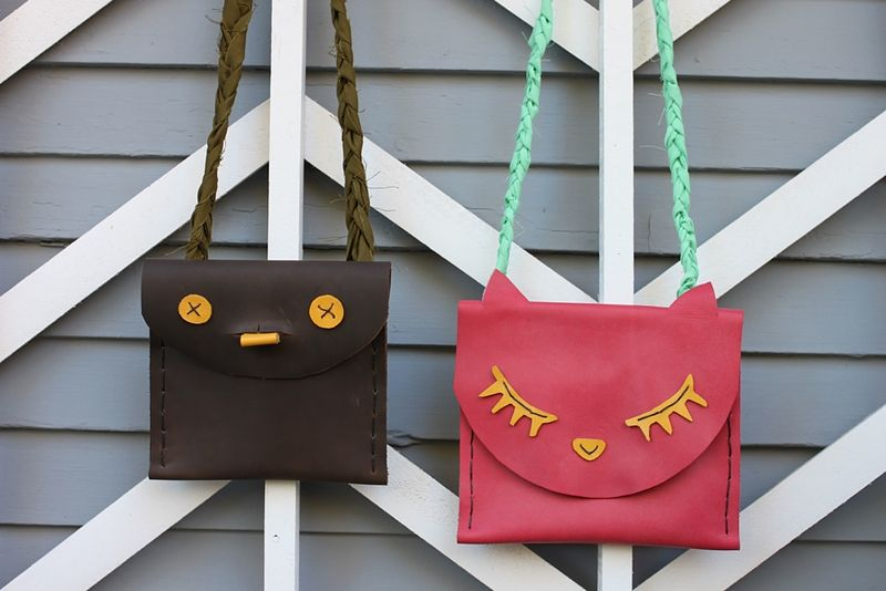 Leather Kids' Pouches DIY abeautifulmess.com