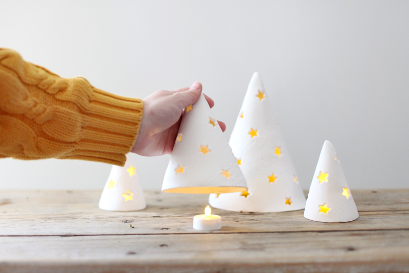 These porcelain holiday trees are the perfect modern accent to your holiday decor, and are so easy to make