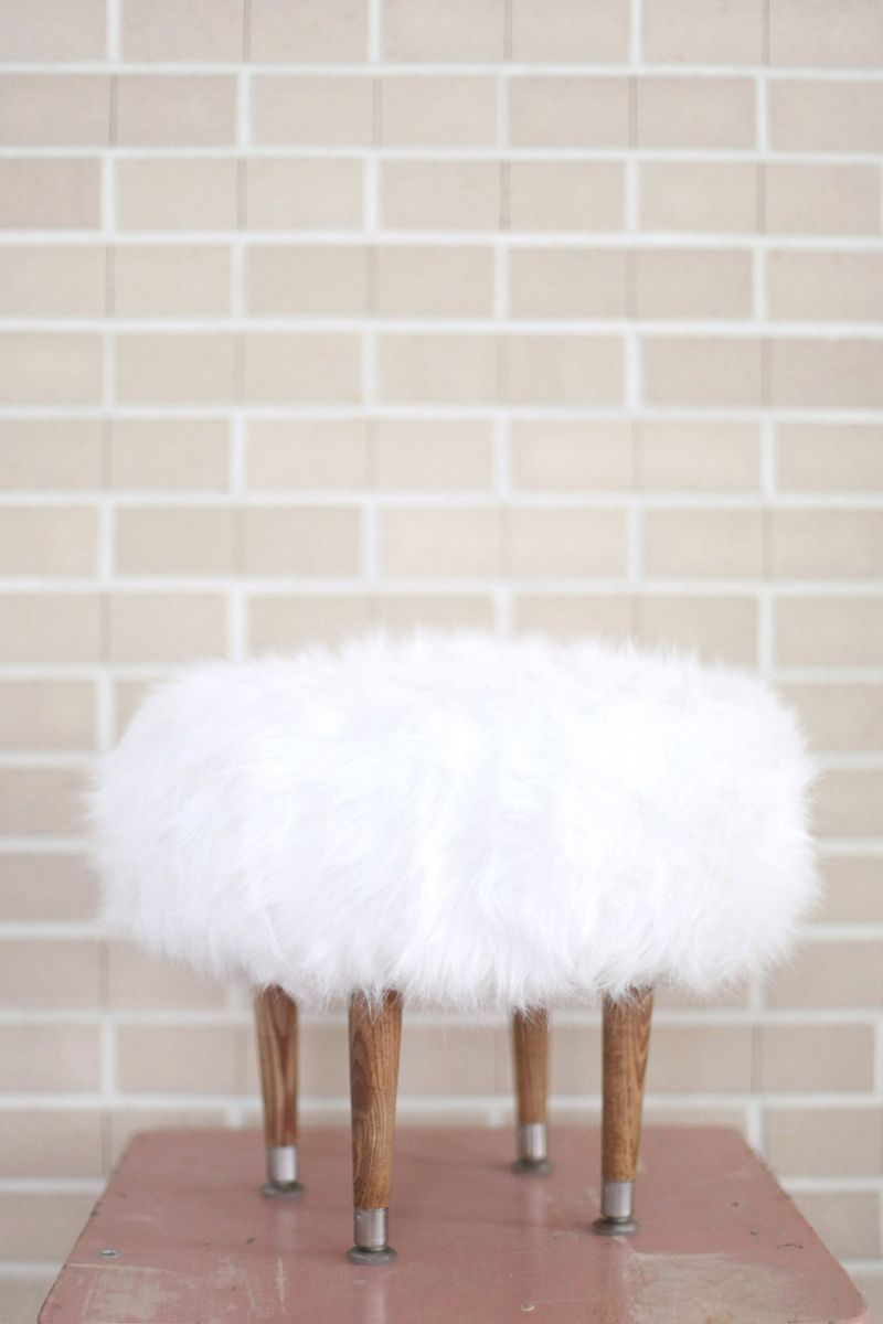 Magnificent Make Your Own Faux Fur Footstool A Beautiful Mess Pabps2019 Chair Design Images Pabps2019Com