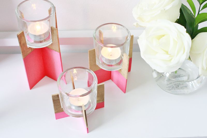 Paint Dipped Wood Candle Holder DIY abeautifulmess.com