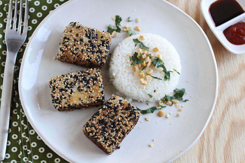 Marinated sesame tofu