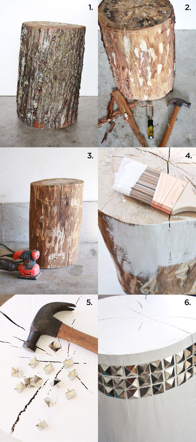 DIY Studded Tree Stump Side Table abeautifulmess.com