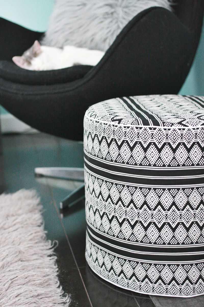 Pleasant Drum Floor Pouf Diy A Beautiful Mess Machost Co Dining Chair Design Ideas Machostcouk