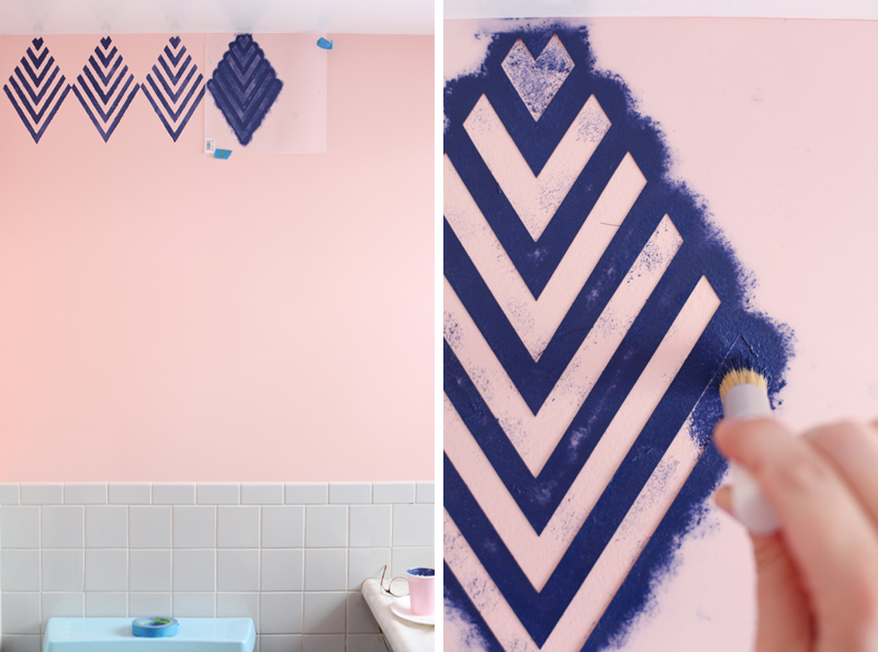 Create a Wallpaper Look with a Geometric Stencil - A