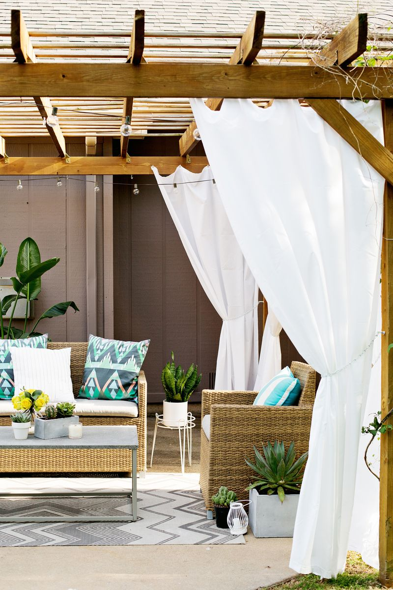 Amazing Make Your Own Outdoor Pergola Curtains A Beautiful Mess Home Interior And Landscaping Oversignezvosmurscom