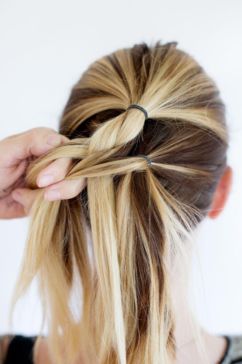 Step 4- begin french braiding the hair
