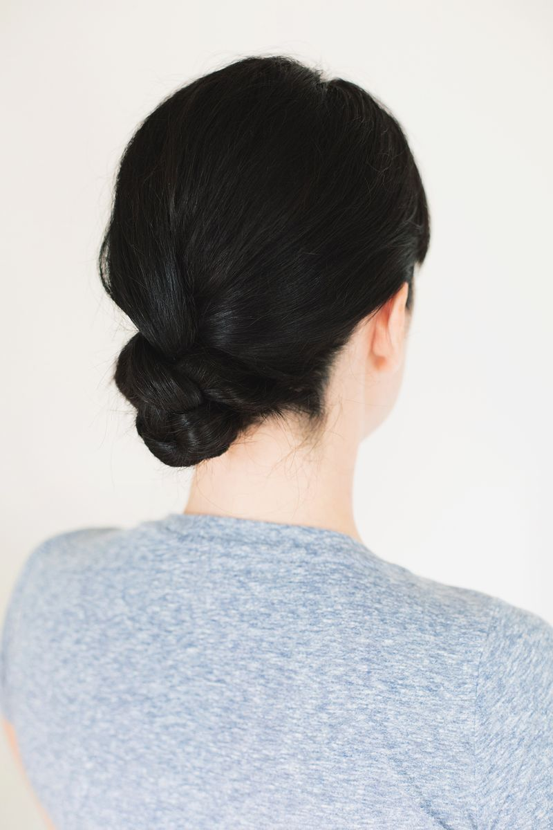 Five minute braided bun via A Beautiful Mess