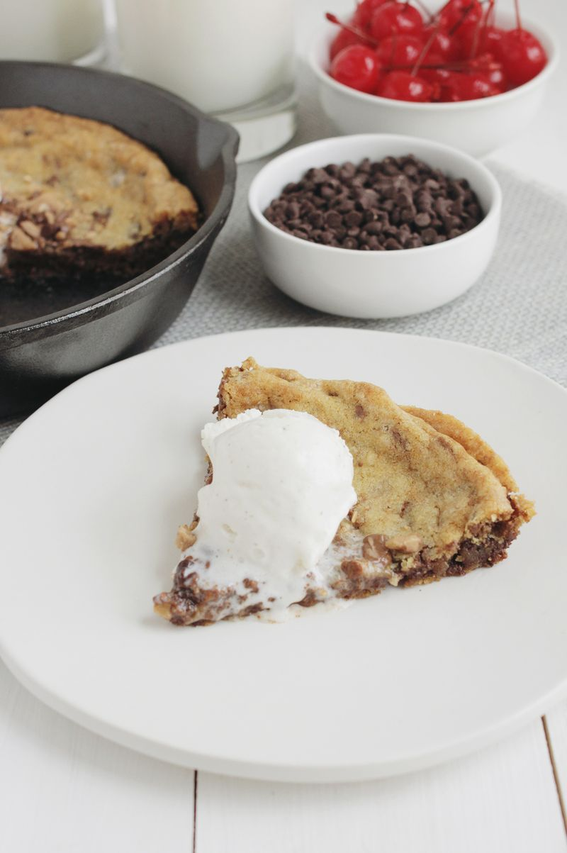 Homemade skillet cookie (click through for recipe)
