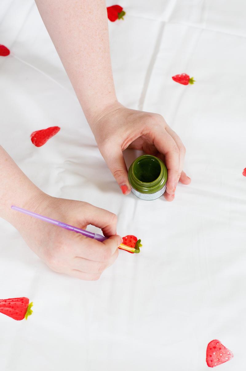 Hand-Stamped Strawberry Crib Sheet
