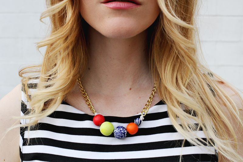 Simple beaded statement necklace
