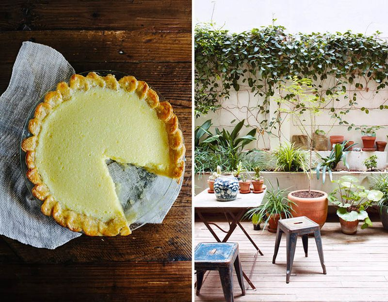 Lime chess pie and a pretty garden