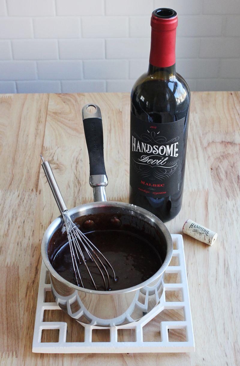 Wine + chocolate glaze