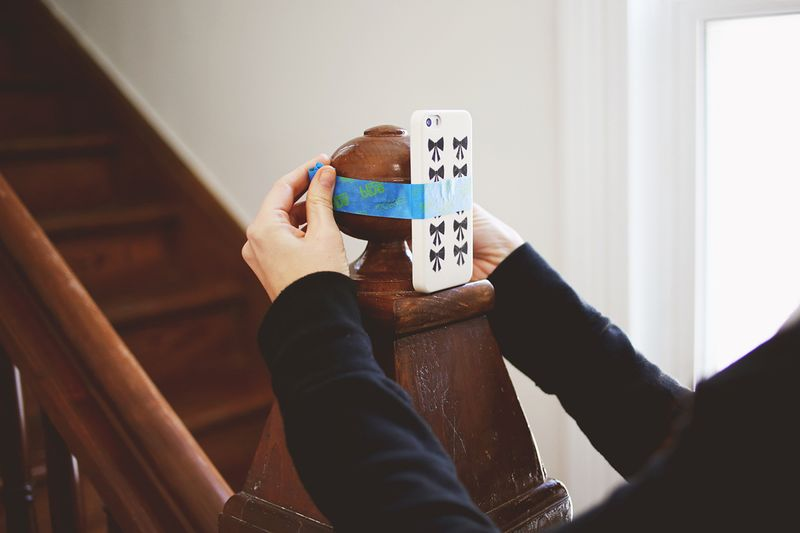Setting up a selfie with tape
