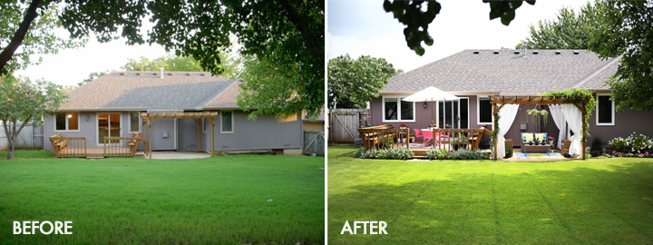 Bright + fun outdoor summer space (before & after