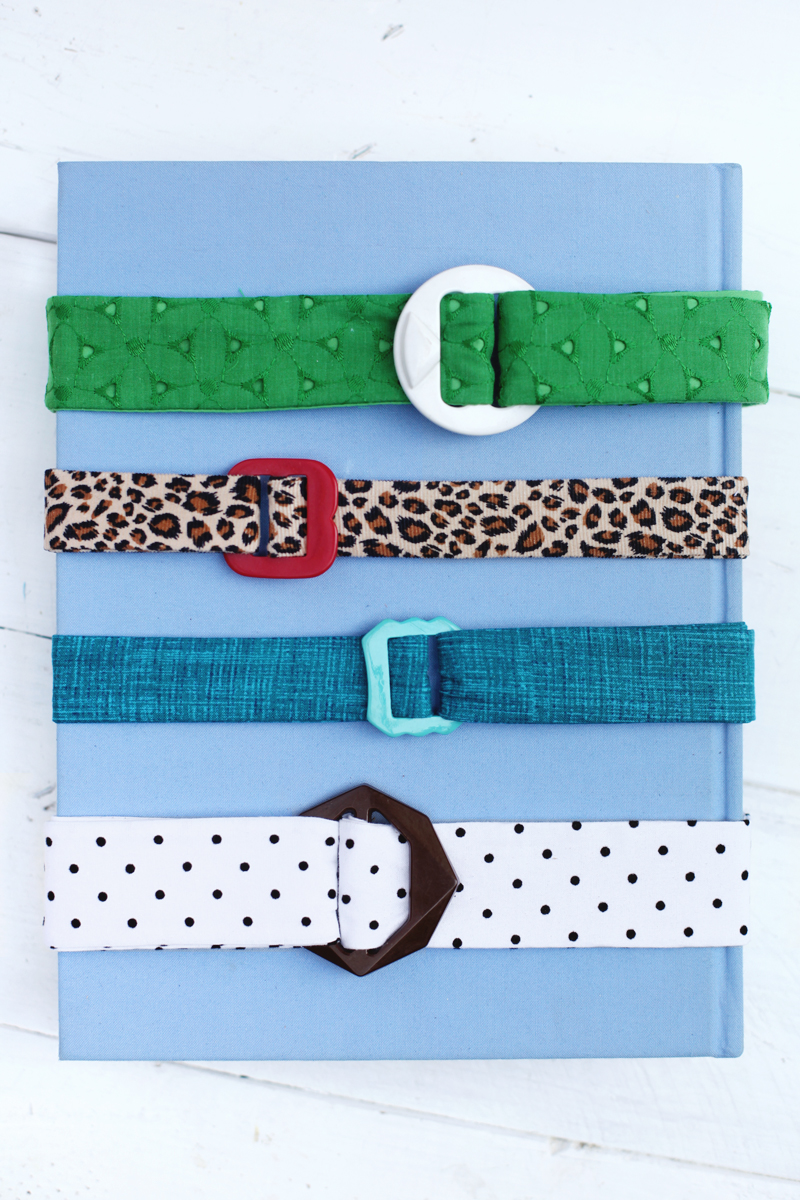 Make your own fabric belts- such a great way to mix pattern and color into an outfit!