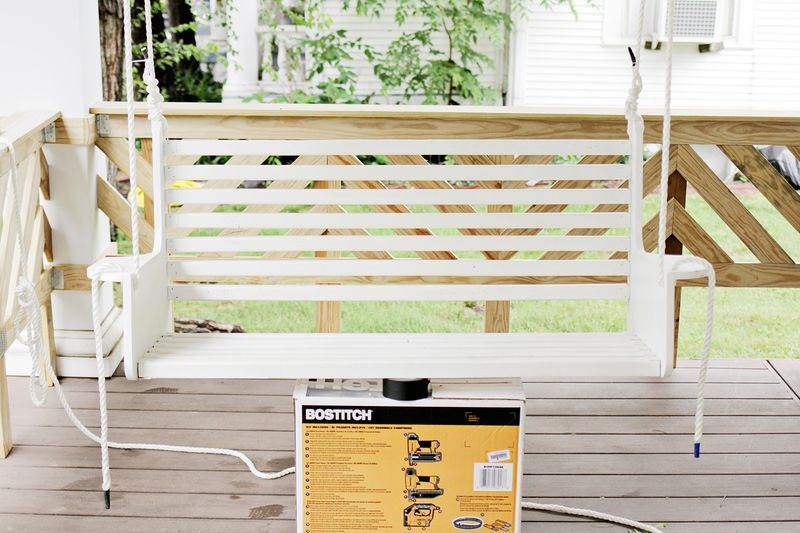 Build your own porch swing armrest assembly (click through for more before and after pics)