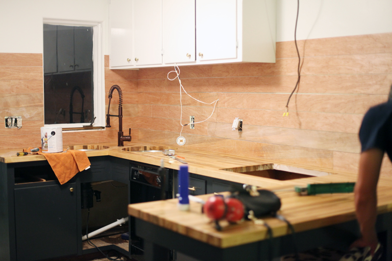 How to Make an Inexpensive Plank Backsplash