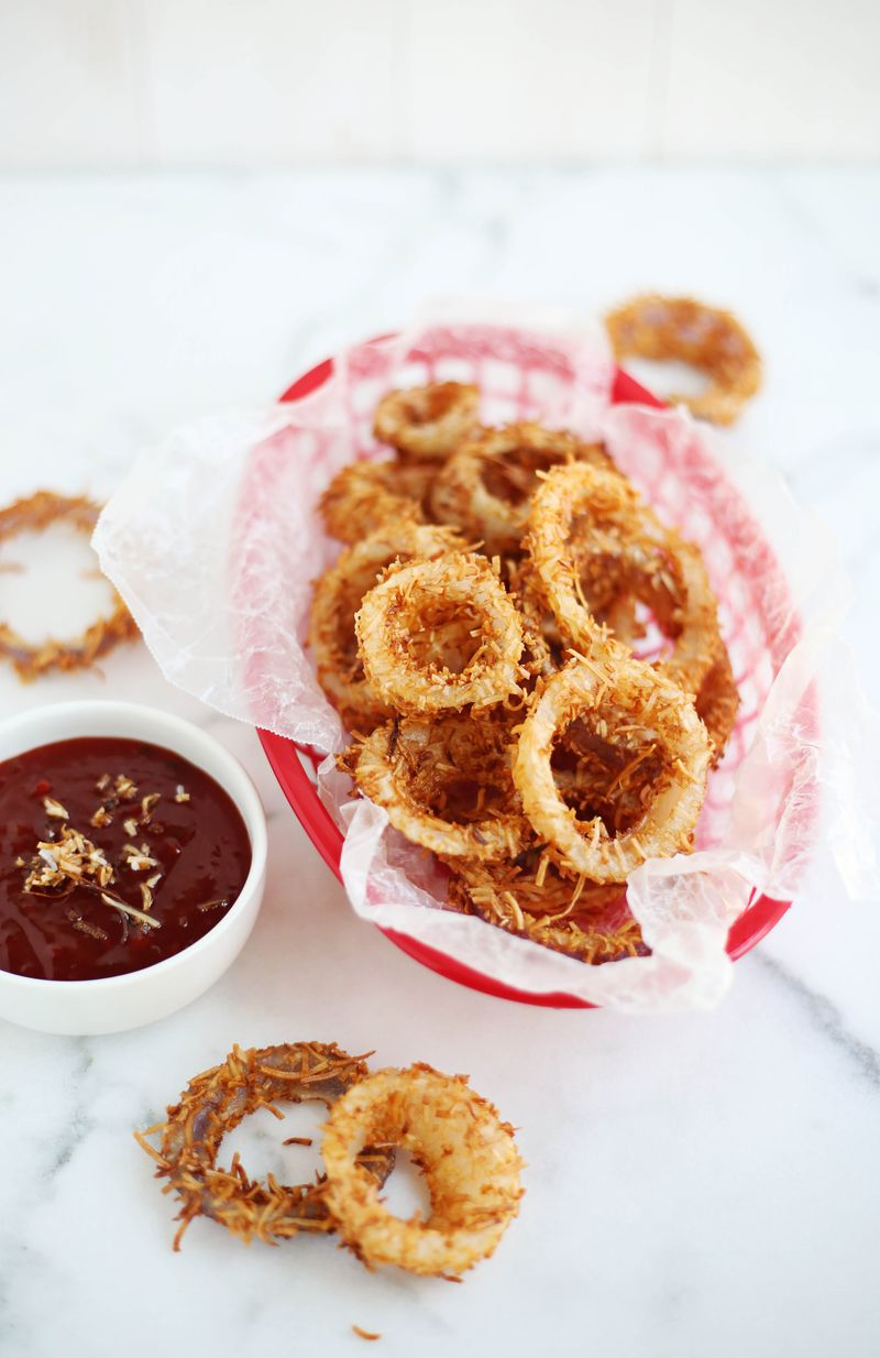 Toasted coconut onion rings (click through for recipe)