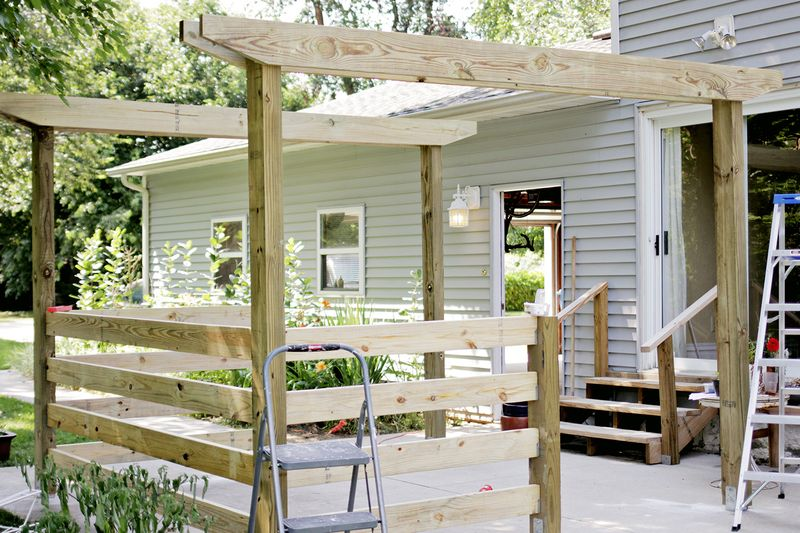 Build a pergola - cutting corner off of beam (click through for more info)
