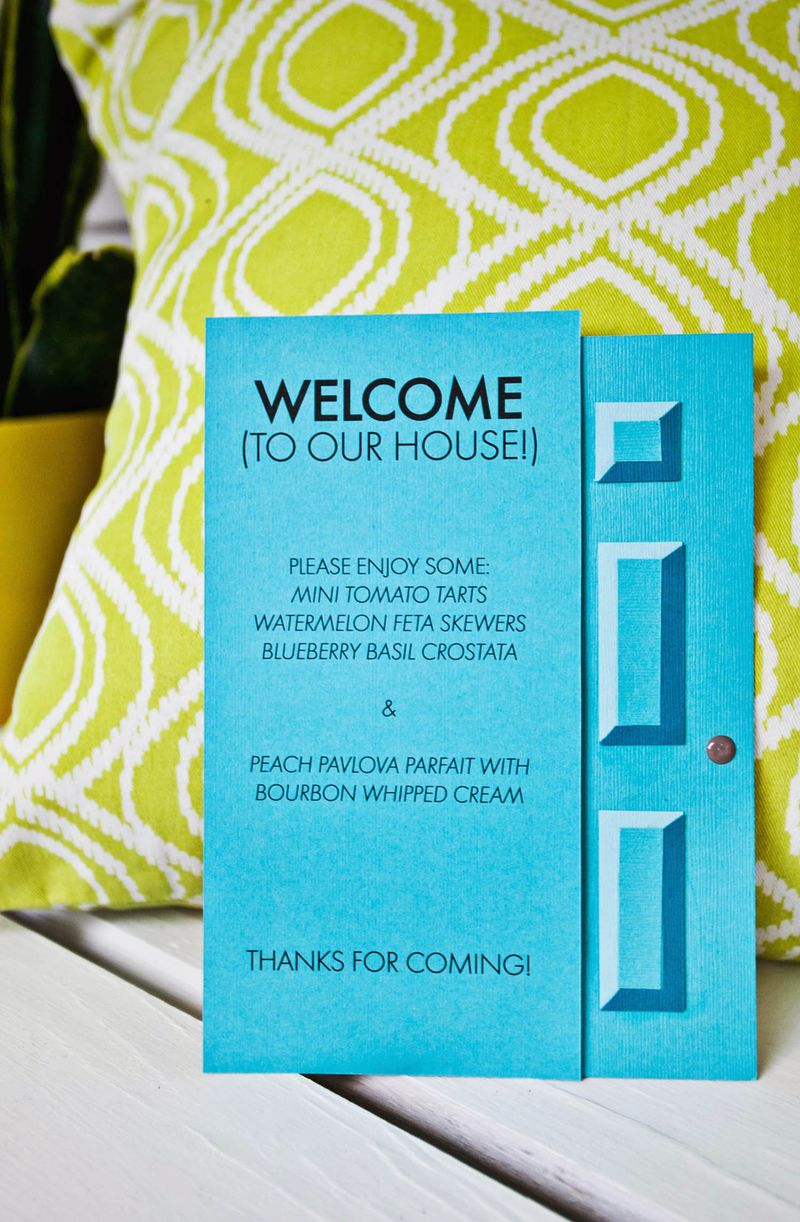 Make your own paper door for a party invite or menu (click through for template)