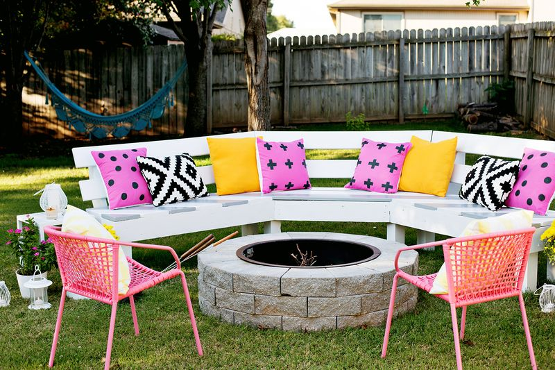 Build Your Own Curved Fire Pit Bench - A Beautiful Mess