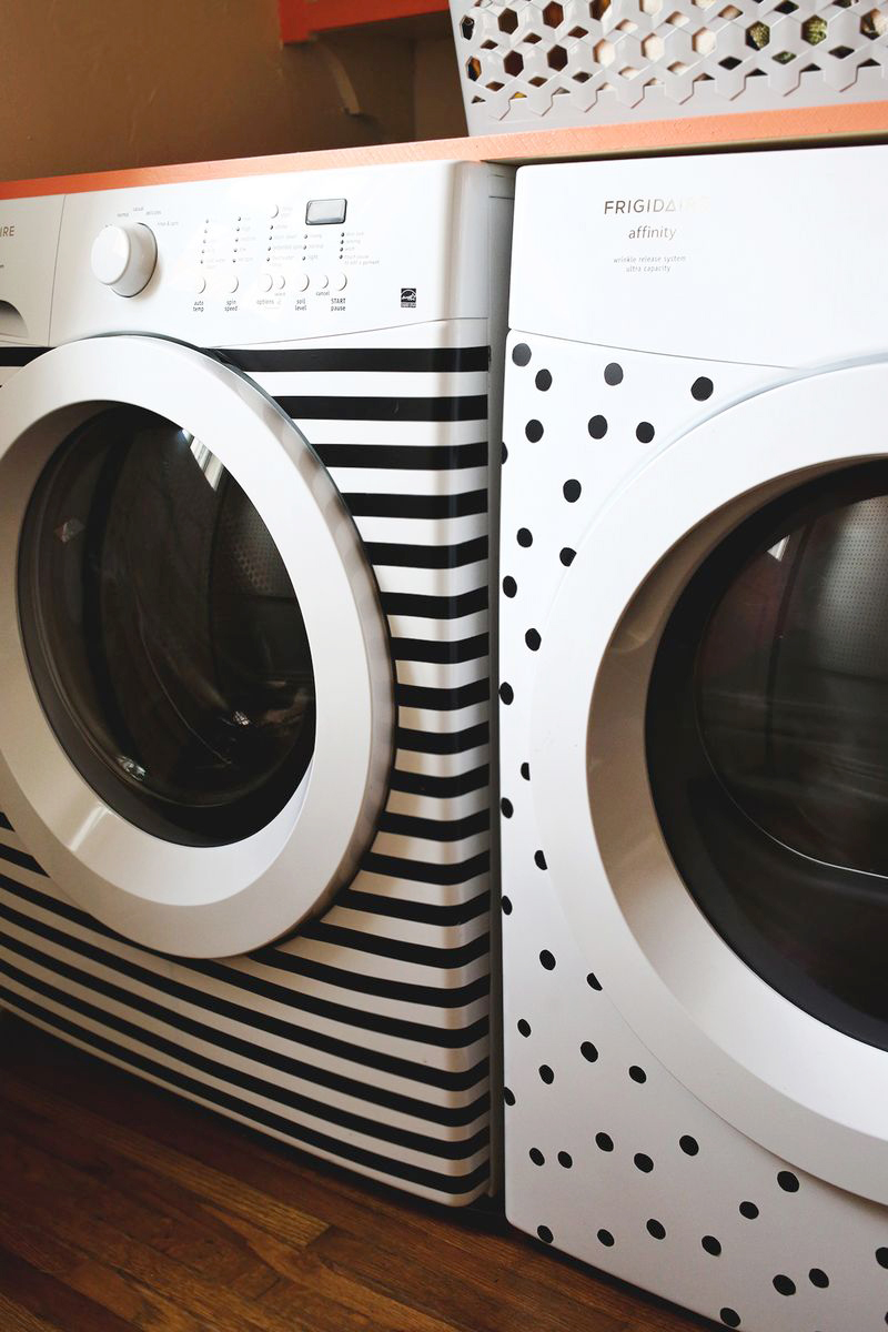 Washer dryer makeover (with electrical tape!)