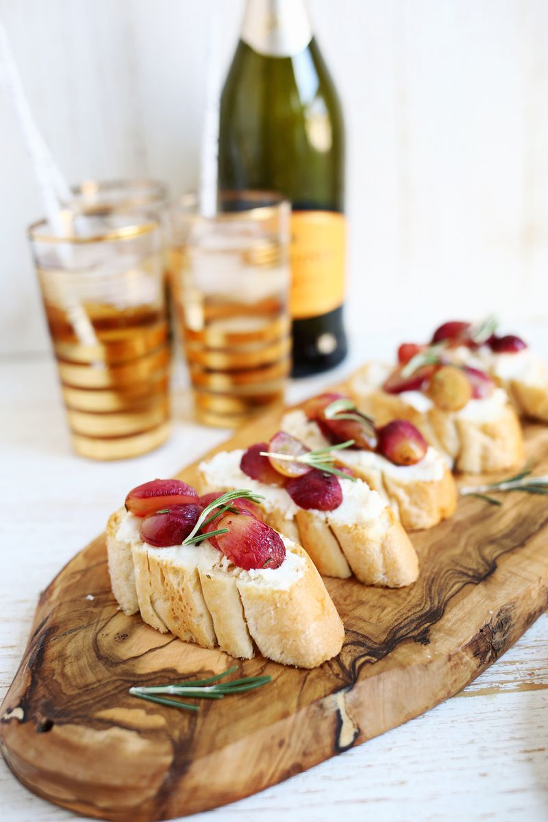 Roasted Grape + Honey Goat Cheese Crostini