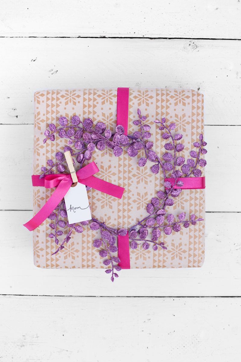 Make a little wreath to beautifully top a wrapped gift.