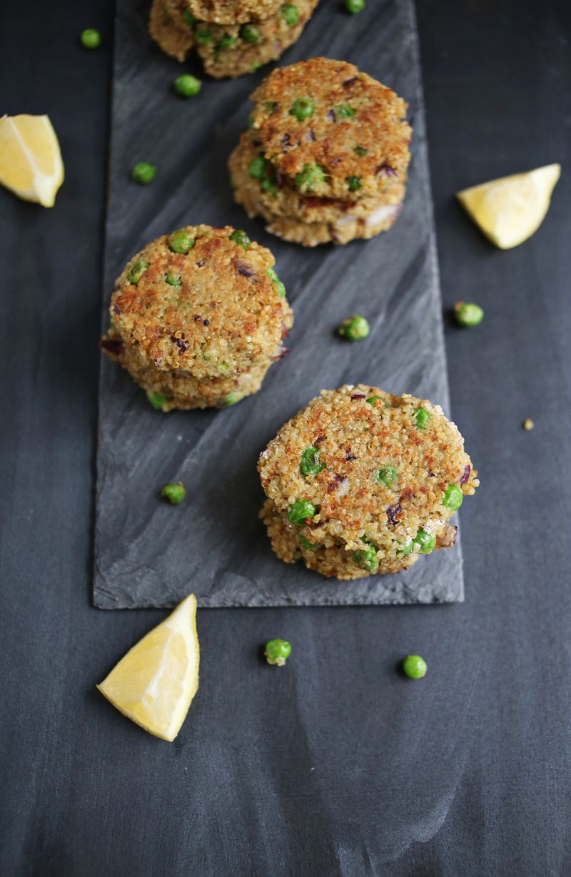 Pesto and pea quinoa patties