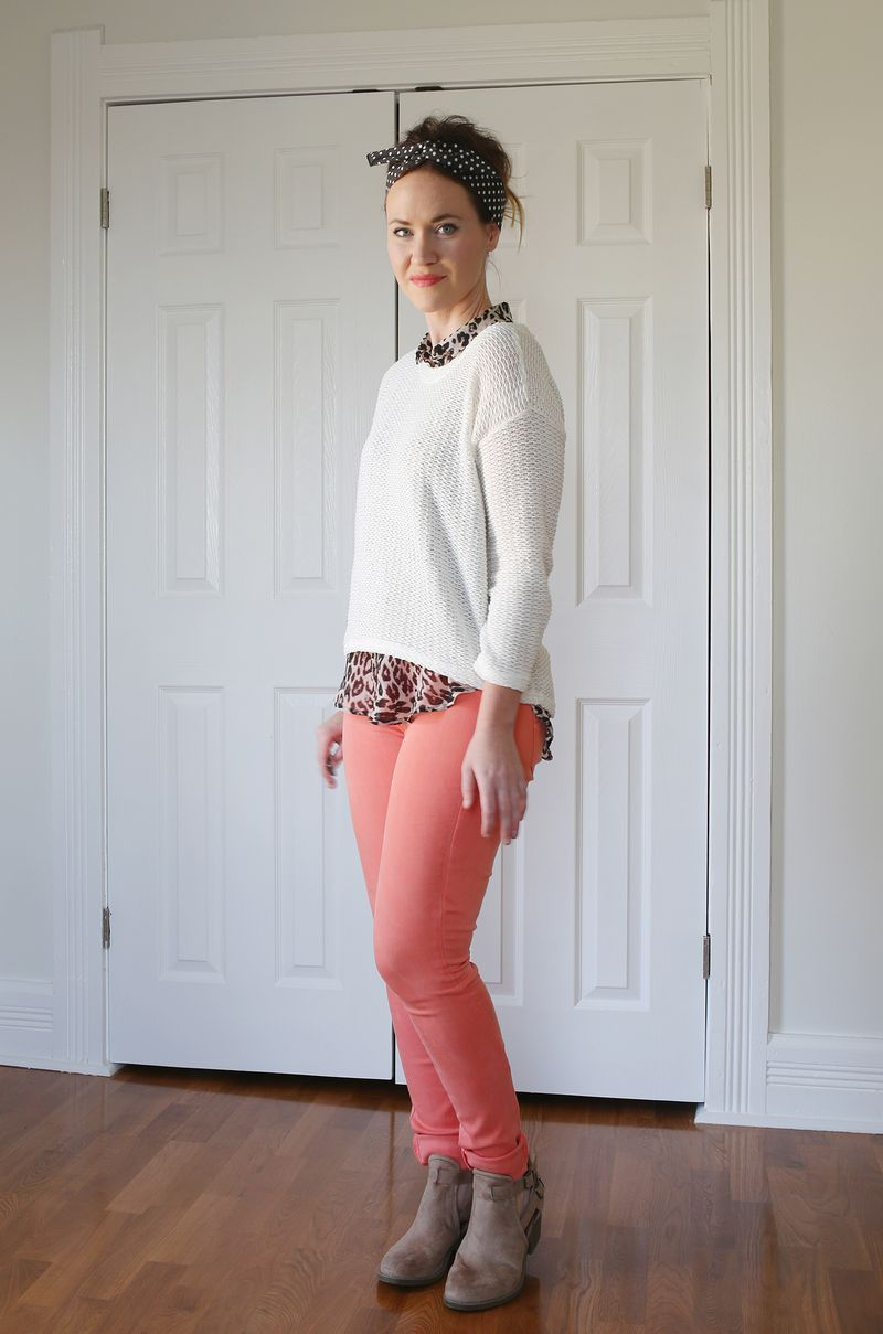 Boots and peach pants